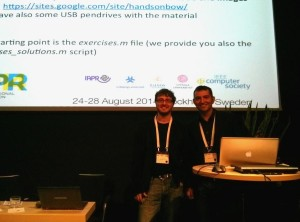 Lamberto Ballan and Lorenzo Seidenari at ICPR 2014