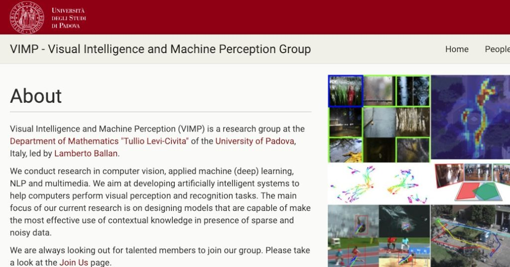 Visual Intelligence and Machine Perception (VIMP) group at UniPD